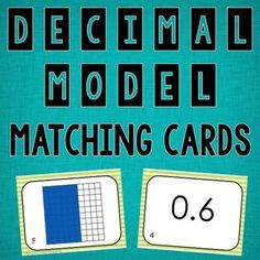 freebie Students match the decimal models to the number decimals. This file comes with 20 matching cards, answer sheets, and an answer key.This is great for centers and small group!