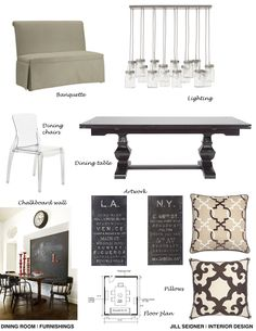 Furnishings concept board for a dining room. Love everything but the plastic looking chair