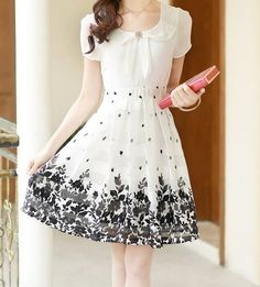 Elegant Peter Pan Collar Short Sleeve Floral Print Chiffon Dress For Women Cute Dresses, Beautiful Dresses, Short Dresses, Dresses 2016, Women's Dresses, Casual Summer Dresses, Summer Dresses For Women, Dress Summer, Vestidos Chiffon