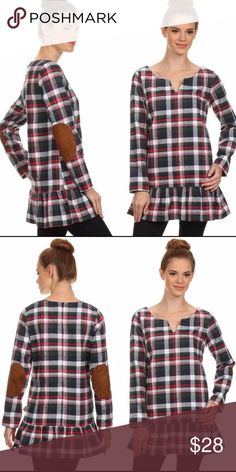 SALE Plaid tunic w ruffles   elbow patches Super cute plaid tunic with  ruffle detailing around the bottom and elbow patches. Plaid colors are red,  ... dd1e4950b74