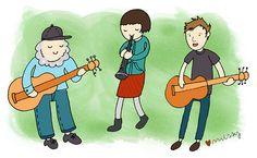 Scott, Laura, Andrew #art #illustration #cute #indie #music #drawing