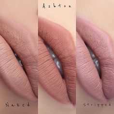 L to R, Naked, Ashton and Stripped ~ Anastasia Beverly Hills Liquid Lipsticks Kiss Makeup, Love Makeup, Beauty Makeup, Hair Makeup, Fun Makeup, Makeup Ideas, Hair Beauty, Anastasia Makeup, Anastasia Liquid Lipstick