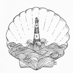 #art #ink #fineliner #blackandwhite #drawing #inkart #tattoo #illustration #iblackwork #thedotworkers #arts_help #arts_gallery #lighthouse #sea #line #lineart #ocean #shell #seashell #waves