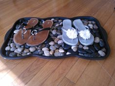 I made this to place our shoes on at the front door!