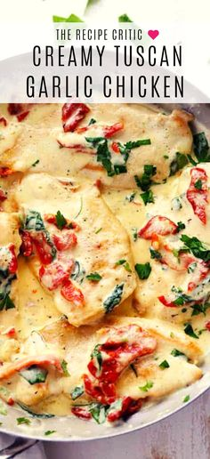 Creamy Tuscan Garlic Chicken has the most amazing creamy gar.- Creamy Tuscan Garlic Chicken has the most amazing creamy garlic sauce with spinach and sun dried tomatoes. This meal is a restaurant quality meal ready in 30 minutes! Italian Crockpot Recipes, Italian Dinner Recipes, Best Italian Recipes, Cooking Recipes, Authentic Italian Recipes, Italian Chicken Recipes, Amazing Chicken Recipes, Amazing Recipes Dinner, Chicken Recipes For Dinner