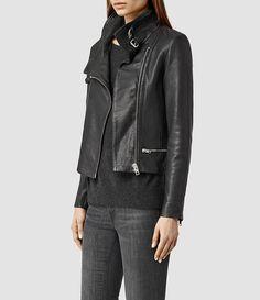 Women's Bales Leather Biker Jacket (Black) - product_image_alt_text_2
