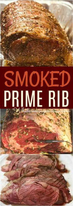 Prime Rib Recipe Add a kiss of smoke to your holiday prime rib. Learn how to smoke perfect prime ribAdd a kiss of smoke to your holiday prime rib. Learn how to smoke perfect prime rib Traeger Recipes, Smoked Meat Recipes, Rib Recipes, Grilling Recipes, Grilling Ideas, Game Recipes, Steak Recipes, Salmon Recipes, Recipes Dinner