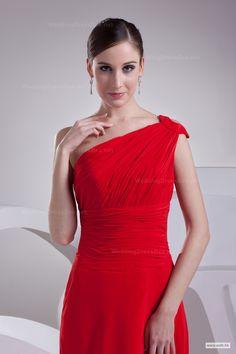 Elegant one shoulder slim A-line chiffon dress with chapel train