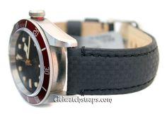 22mm Black Carbon Fiber Grain Padded Calfskin Leather Watch Strap For Tudor Black Bay Watches