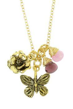 LEILA Butterfly & Flower Necklace