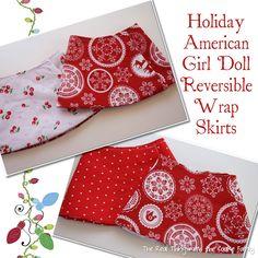 American Girl Doll Reversible Wrap Skirt - Free Pattern #Americangirl #Sewing