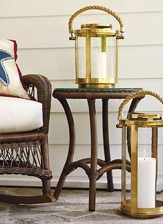 Brass-gold lanterns stunning. I love these.