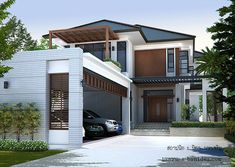 42 Trendy Ideas For House Facade Modern Exterior Design New Home Designs, Home Design Plans, Cool House Designs, Modern House Design, Style At Home, Modern Exterior, Exterior Design, Modern Tropical House, Tropical Houses