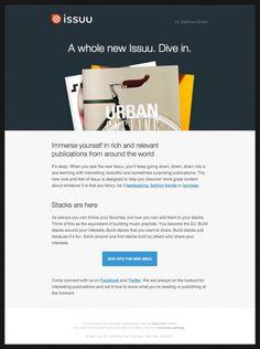 Issuu – Newsletter HTML email marketing design Email Marketing Design, Email Design, Web Design, Media Marketing, Design Ideas, Design Inspiration, Graphic Design, Email Web, Html Email