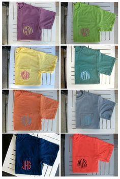 Monogrammed Comfort Colors Plain Pocket Tee by hadleyandfinn, $20.00