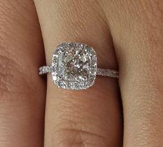 2.75 CT Cushion Cut D/SI1 Diamond Engagement Ring 14k White Gold Clarity Enhance