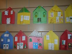 """""""Christmas At Our House"""" project for students.  Use construction paper to cut out a house that folds open in the middle.  Staple a piece of lined writing paper inside the house.  Students decorate the front of the house with windows, doors, and holiday decorations.  Inside they write about their family's yearly holiday traditions."""