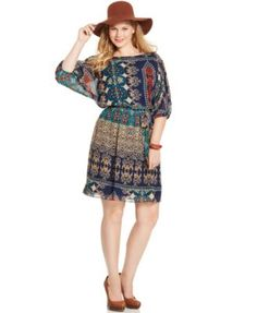 Love Squared Plus Size Printed Belted A-Line Dress