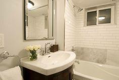 Glam bathroom for a basement apartment, Jeff & Kirsty Basement Flat, Income Property, Basement Apartment, Flat Ideas, Master Bathroom, Season 7, Mirror, Staging, Furniture