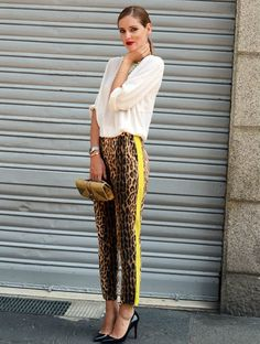 Love these animal print tuxedo trousers.