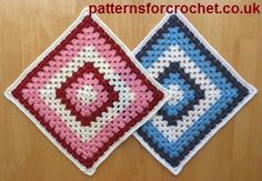 12 inch Granny Square, free crochet pattern on Patterns for Crochet. Available in US or UK abbreviations versions.