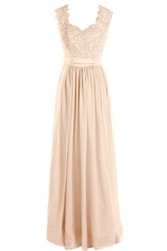 Dressever Women's V Neck Lace Bridesmaid Dress Long Chiffon Prom Beaded Evening Party Dress Champagne US10 Dressever http://www.amazon.com/dp/B01ANL86R4/ref=cm_sw_r_pi_dp_ke35wb0AWB9J0