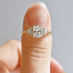 Nontraditional Engagement Rings, Most Beautiful Engagement Rings, Square Engagement Rings, Dream Engagement Rings, Three Stone Engagement Rings, Square Wedding Rings, Diamond Wedding Ring Sets, Tiffany Engagement Rings, Moissanite Engagement Rings