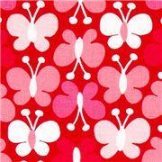 roter Michael Miller Stoff mit rosa Schmetterlingen