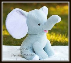Blue Floppy Ear Stuffed Elephant  by JillysMomMadeThat on Etsy