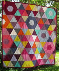 Gorgeous solid work!!!! Mini Patchwork Prism Quilt - Front by BGMom1, via Flickr.