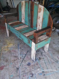 Hello I have for sale a rustic/beach pallet bench I just made its painted with a teal/turquoise and a antique white then sanded down and stained with a antique walnut it would look great inside or would make a great front porch piece it measures 48w 40t 16d I can make these any color or stain youd like just msg me with any ideas thank you note this bench is sold but the bench I will make you will match this one thank you. FREE SHIPPING