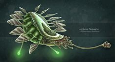 Alien concept - LUMINOUS OPPUGNO Named for the Latin word for 'attack', the Luminous Oppugno is a crafty aquatic predator. Primarily nocturnal, it uses its bioluminescent-tipped rods to attract prey. Once within range, the main grasping appendage shoots out and arrests the unsuspecting victim with vigorous tenacity.