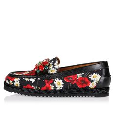 """with chic Details  Loafer Printed Broccato Contrasting applications details, Slip on, Made in italy black [Art. """"CM0017 AR450 8Q885 PAPAVERI MAGH NERO""""]."""