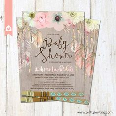 Boho Baby Shower Invitation Rustic Floral by PrettyInvitingPrints