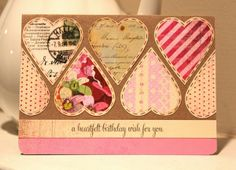 This shabby hearts card has stolen my heart! Love the multi papers used and they definitely gave this card its own attitude. ♥ Love ♥