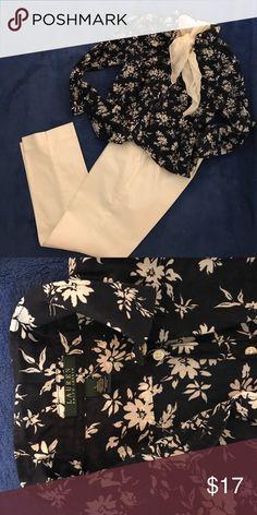 NWOT Lauren ralph lauren shirt, size L Navy blue and the white color flower print button-down shirt, never worn. Absolutely fit for medium. Lauren Ralph Lauren Tops Button Down Shirts