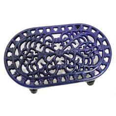 Blue Oval Shaped Cast Iron Trivet: Amazon.com: Kitchen & Dining