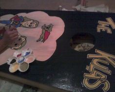 Hand painted, personalized cornhole boards