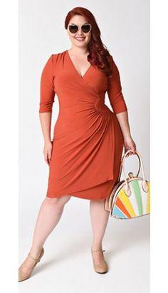 Plus Size Rust Orange Quarter Sleeve Ciara Cinch Wrap Dress