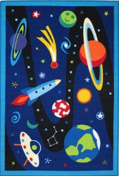 Olive Kids Out of This World Nylon Machine Made Boys Rug - LA Rugs | Rugs by SelectRugs.com $50.00