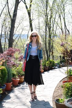 Stripes & Pleats: distressed denim jacket, striped tank, black pleated midi skirt, hot pink Kate Spade bag, leopard ankle-strap heels
