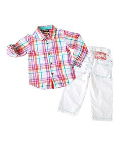 Love this Kartoons Kataloons Red & White Plaid Button-Up & Pants - Infant, Toddler & Boys by Kartoons Kataloons on #zulily! #zulilyfinds