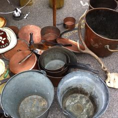 old pots and pans become resting places for growing plants.