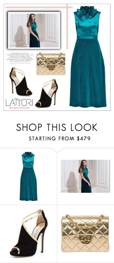 """LATTORI dress"" by water-polo ❤ liked on Polyvore featuring Lattori, Jimmy Choo, Chanel, polyvoreeditorial and lattori"