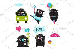 Monsters activities for children Graphics Sweet kids playful fictional characters dancing, driving bicycle and car, loving, playing. Set of mo by Popmarleo Shop Monster Illustration, City Illustration, Pencil Illustration, Monster Activities, Activities For Kids, Applique Templates, Design Templates, Happy First Birthday, Monster Characters