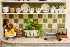 Add your favorite herbs to your backsplash! Great for a gardening space or kitchen. Glass Mosaic Tiles, Hand Painted Ceramics, Porcelain Tile, Kitchen Backsplash, Planter Pots, House Ideas, Herbs, Gardening, Space