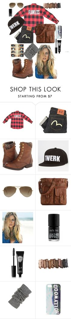 """Flawless"" by emmajrobertson ❤ liked on Polyvore featuring beauty, Evisu, Steve Madden, Ray-Ban, Mix No. 6, Bumble and bumble, Eyeko, Urban Decay and Forever 21"