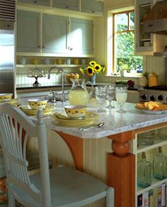 soft blue and yellow kitchen