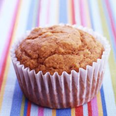 The flavors of pumpkin, nutmeg and cloves in these muffins can be enjoyed all year round. 5 SmartPoints #recipe #WWLoves
