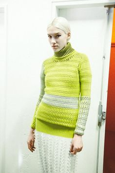 Neon geometric knit poloneck backstage at Kenzo AW14 PFW. More images here: http://www.dazeddigital.com/fashion/article/19083/1/kenzo-aw14